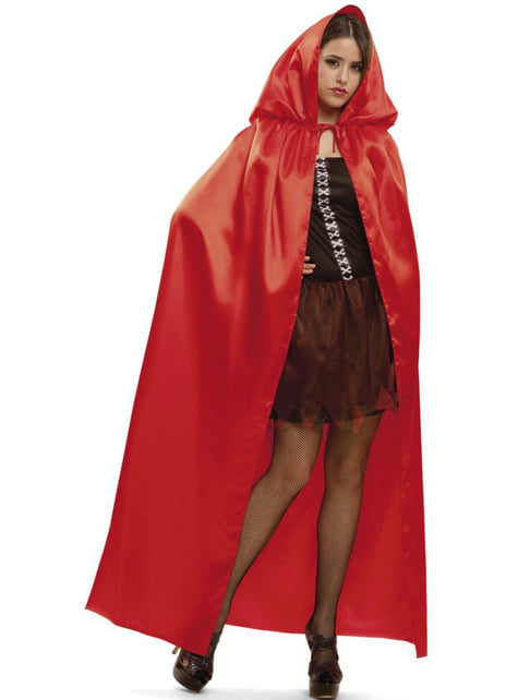 Adults Red Shiny Hooded Cape