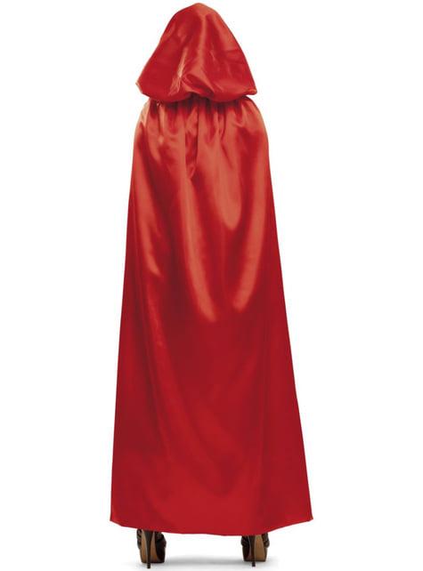 Cape rouge brillante à capuche adulte
