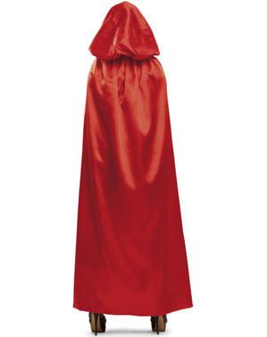 Täiskasvanud Red Shiny Hooded Cape