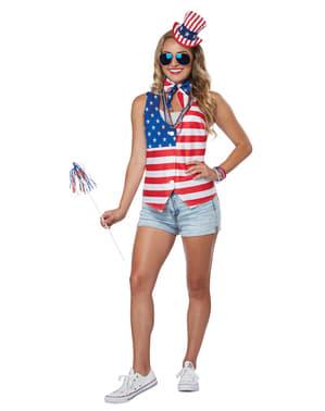 Kit Kostüm amerikanische Patriotin für Frauen