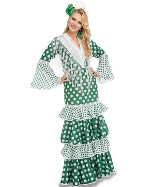 Grønt flamenco kostume til kvinder