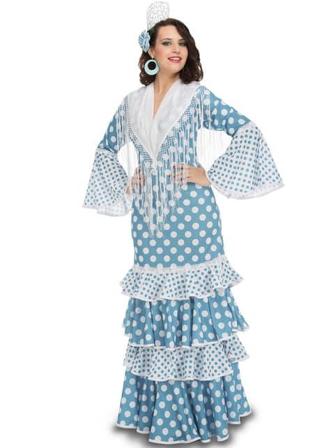 Kostium błękitny flamenco damski