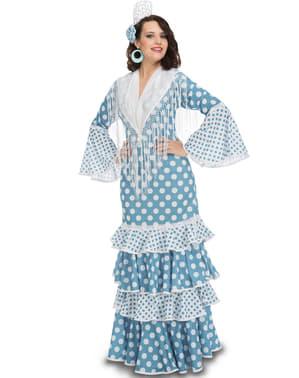 Flamencotänzerin Kostüm türkis für Damen