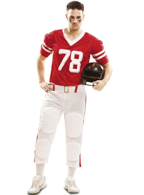 Kostium gracza futbolu amerykańskiego czerwony męski