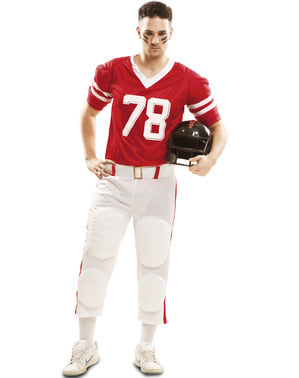 Pánský kostým hráče amerického fotbalu červený