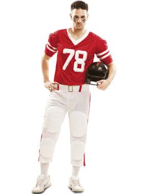Rødt amerikansk fodbold spiller kostume til mænd