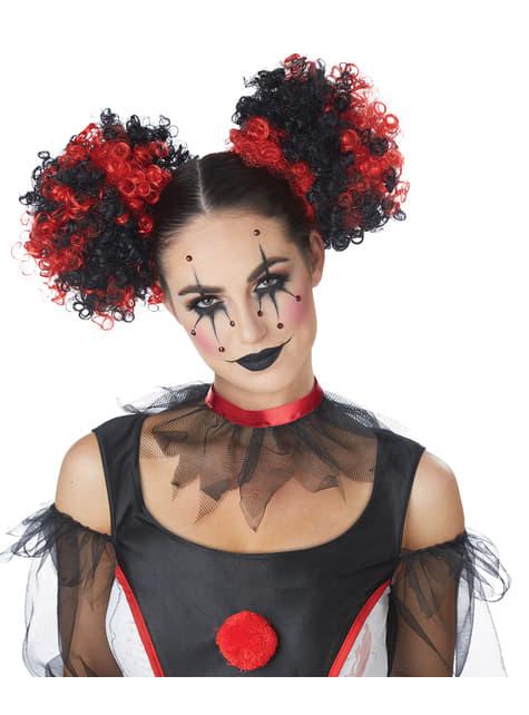 Pruik clown in knotten rood met zwart voor vrouw