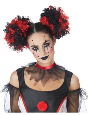 Clown Schleifen-Perücke schwarz-rot für Damen