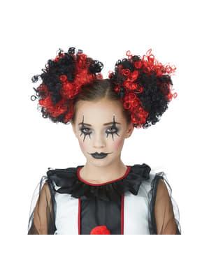 Tranças de palhaço pretas e vermelhas para mulher