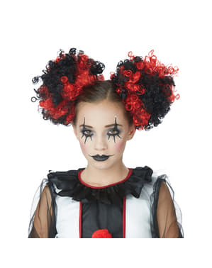 Womens Red and Black Clown Hair Buns