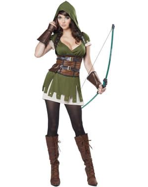 Fato de arqueira Robin dos bosques para mulher tamanho grande
