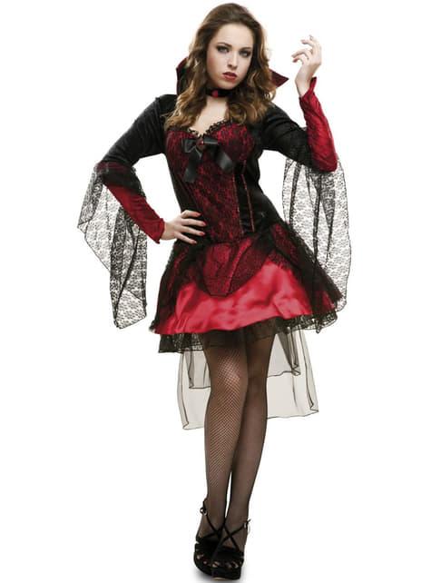 Vampirin Kostüm mit schwarzem Mull für Damen