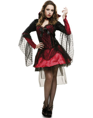 Fato de vampiresa com véus negros para mulher