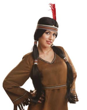 Perucă indiană cu cozi pentru femeie