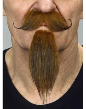 Bigote de mosquetero castaño con gran perilla para adulto