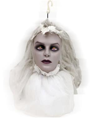 Cabeça de noiva zombie animada de pendurar