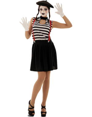 Uttrykksful Mime Kostyme for Dame