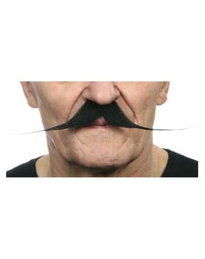 Mustasch fransman smal svart vuxen