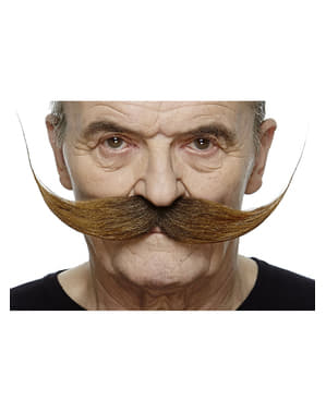 Perfectly Styled Brown Moustache