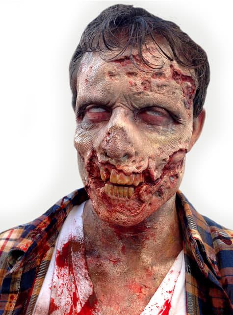 Prótesis de media cara zombie para adulto
