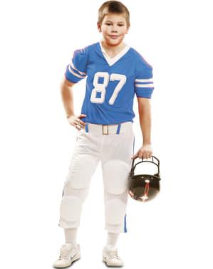 Fato de jogador de futebol americano azul 87 para menino
