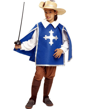 Blått Musketer Kostyme for Gutt