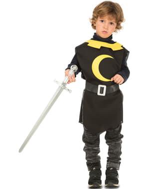 Tunique de chevalier médiéval noire enfant