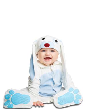 Fato de coelho azul orelhudo para bebé