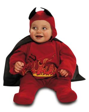 Малкият дявол на бебето с костюм на пламъците