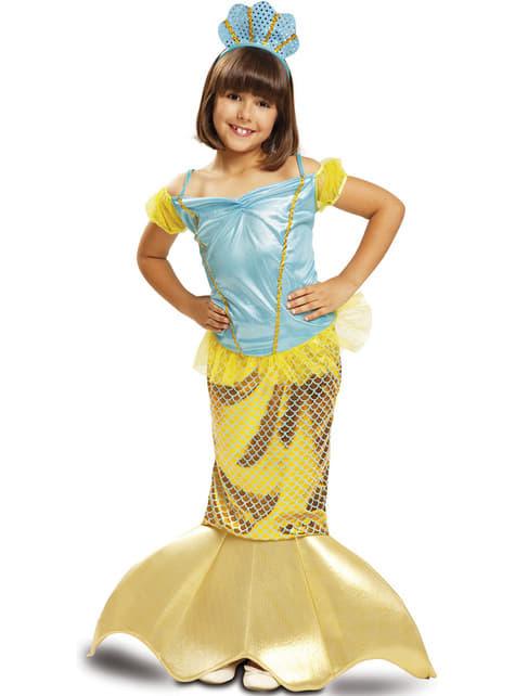 Déguisement sirène jaune des mers fille