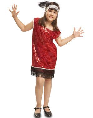 Gaun 1920-an merah gadis dengan tassles