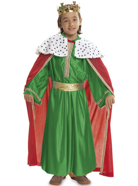 Fato de Rei Mago verde para menino