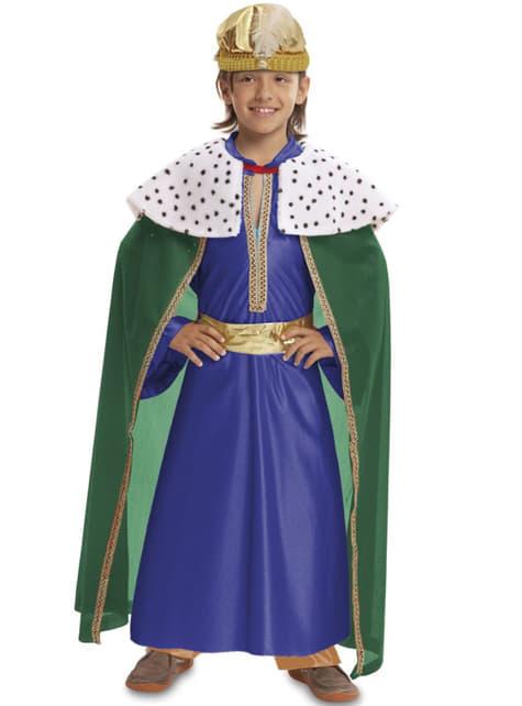 Fato de Rei Mago azul para menino