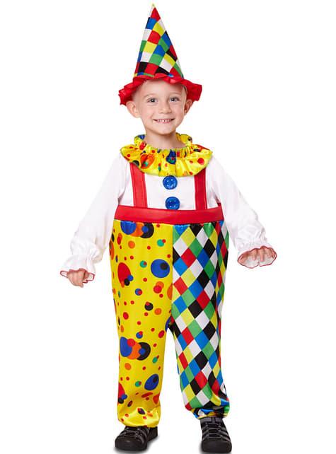 Fato de palhaço colorido para menino