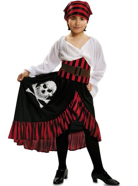 Dívčí kostým pirátka s motivem lebky