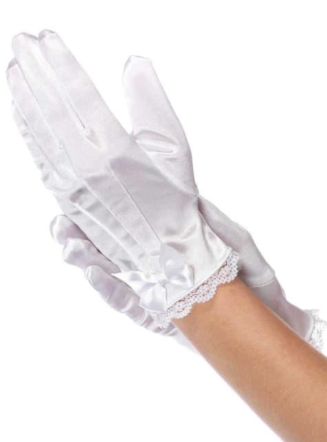 Girl's Short White Satin Gloves