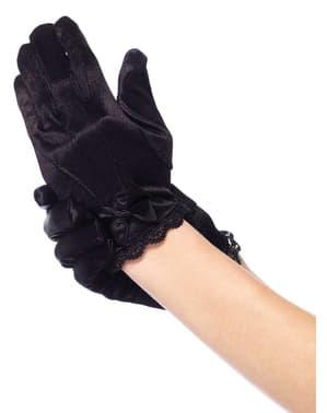 Handskar i satin korta svarta för barn