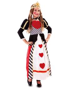 Hjerter Dronning Kostyme for Jente