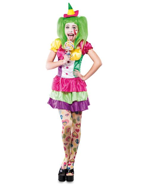 Disfraz de payasa de circo multicolor para mujer