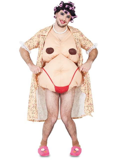 Disfraz de señora con rulos para hombre