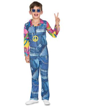 Hippie maskeraddräkt för pojke i blått