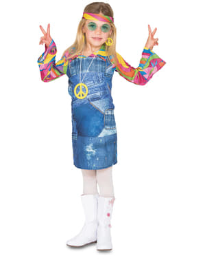 Hippie Kostüm blau für Mädchen