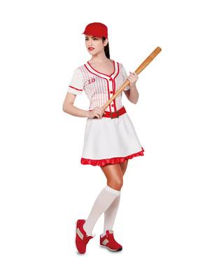 Fato de jogadora de basebol profissional para mulher