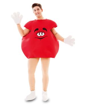 Fato de caramelo vermelho para adulto