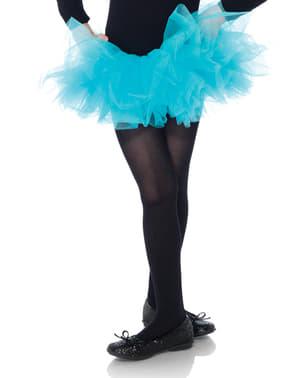Ballerinakjol i tyll blå neon för barn