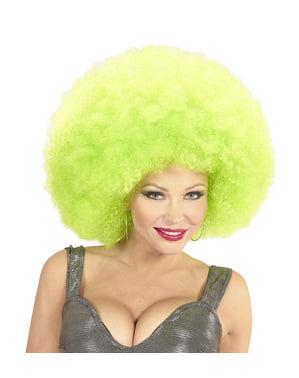 Peruk afro gigantisk grön deluxe i påse