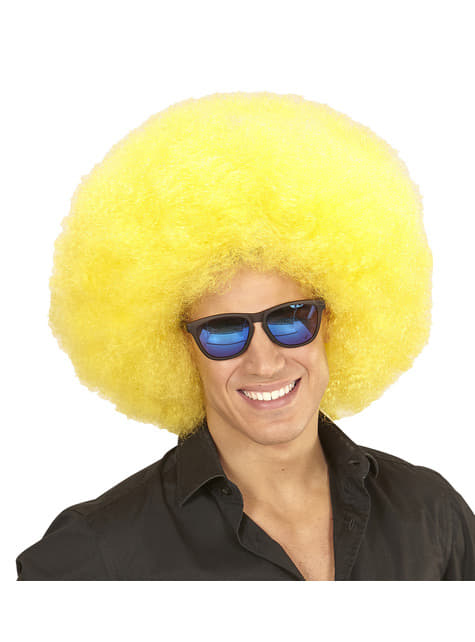 Peluca afro gigante amarilla deluxe en bolsa