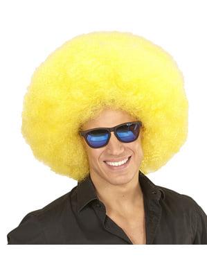 Gigantische Afro Perücke gelb deluxe mit Tasche