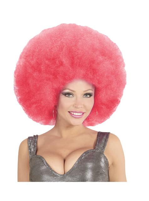 Deluxe Γιγαντιαία ροζ Αφρο περούκα