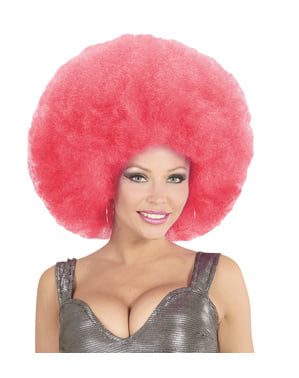 Perucă afro gigantă roz deluxe